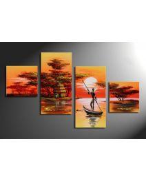 Afrika dreams - 4 delig canvas 80x50cm Handgeschilderd