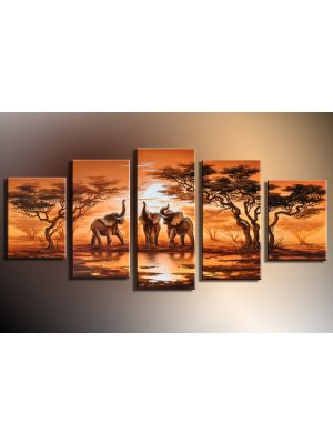Olifanen afrika handgeschilderde canvas 150x70cm