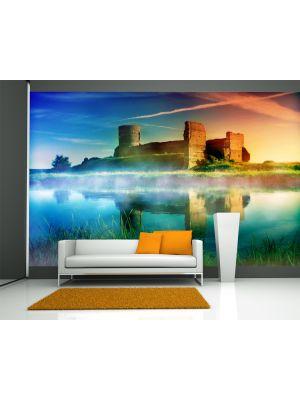 Foto behang Oud kasteel bij zonsondergang voorbeeld