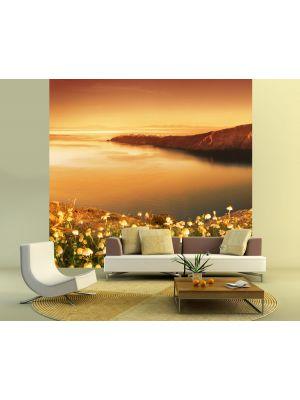 Foto behang Zonsopkomst over Santorini voorbeeld