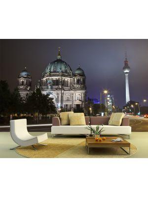 Foto behang Berliner Dom en Televisietoren in de nacht voorbeeld