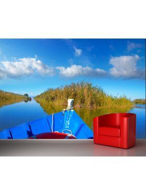Foto behang Blauwe boot in Albufera Valencia Spanje voorbeeld