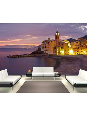 Foto behang Villa Camogli in Italie in de avond voorbeeld