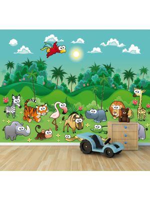 Foto behang Jungle dieren Cartoon voorbeeld