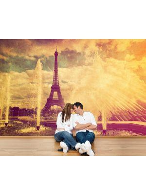 Foto behang Eiffeltoren in retrostyle - Parijs Frankrijk voorbeeld