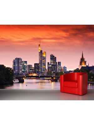 Foto behang Skyline Frankfurt am Main Duitsland voorbeeld