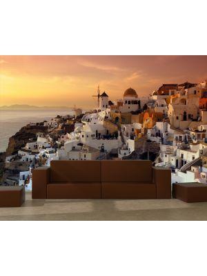 Foto behang Santorini avond rood - Griekenland voorbeeld
