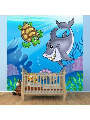 Foto behang Kinder behang onderwater dieren voorbeeld