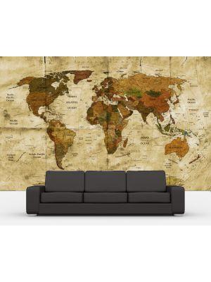 Foto behang Wereldkaart retro II voorbeeld