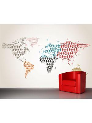 Foto behang Wereldkaart- Personen voorbeeld