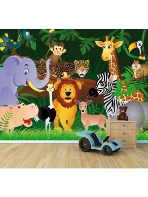Foto behang Kinder behang Wilde dieren in de jungle - Cartoon voorbeeld