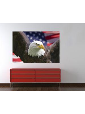Foto behang Amerikaanse adelaar met vlag voorbeeld