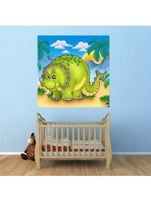 Foto behang Dino kinder behang- Triceratops voorbeeld