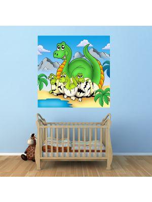 Foto behang Dino Kinder behang- Mama met Baby voorbeeld