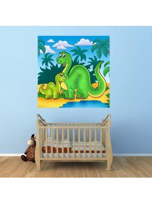 Foto behang Dino Kinder behang Familie voorbeeld