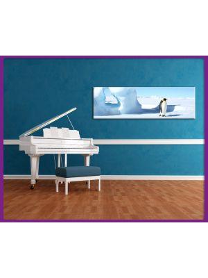 Foto print op canvas Panorama Pinguin op een ijsblok