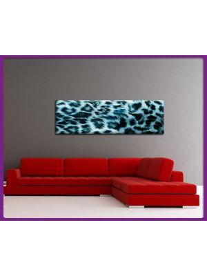Foto print op canvas Panorama Luipaarden vel - Blauw