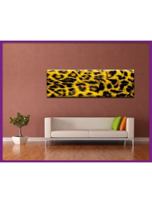 Foto print op canvas Panorama Luipaarden vel - Geel