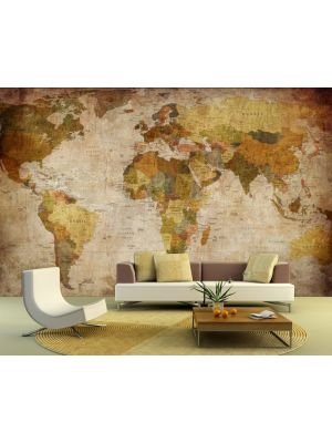 Foto behang Retro Wereldkaart