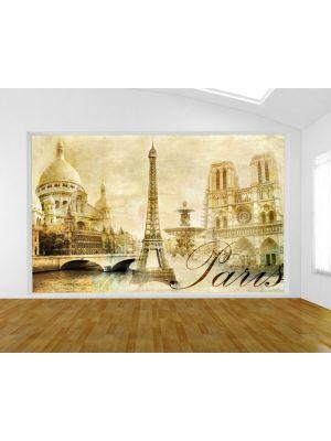 Foto behang Parijs collage sepia