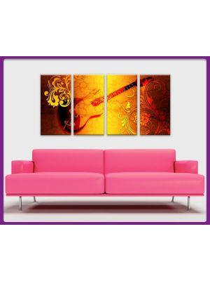 Foto print op canvas Gitaar Graphic - 4 delig