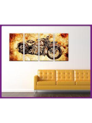 Foto print op canvas Motor Vintage - 4 delig