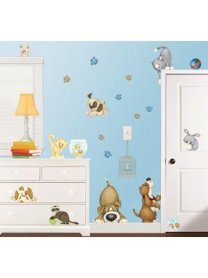Muurstickers huisdieren kinderkamer
