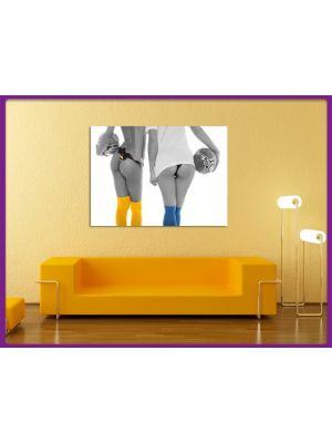 Foto print op canvas Sexy voetbal vrouwen Zwart-wit
