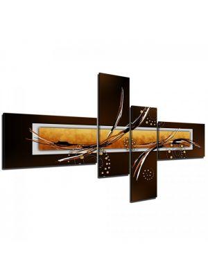 Abstracte Kunst III bruin - 200x90cm 4 delig - ingelijst. P321