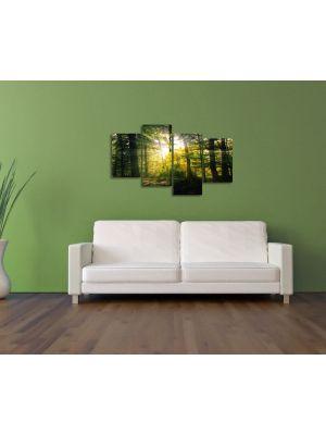 Zon door de bomen - 120x80cm 4 delig - Canvas print