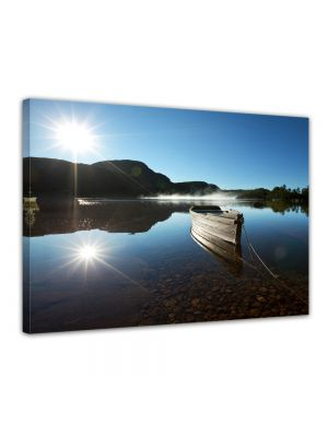 Boot op een meer - Foto print op canvas