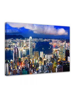 Hong Kong central district - Foto print op canvas