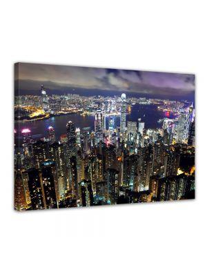 Hong Kong City in de nacht - Foto print op canvas