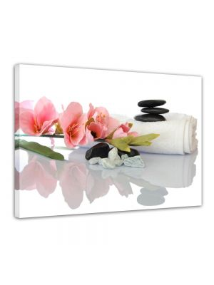 Orchidee en Zen stenen - Foto print op canvas