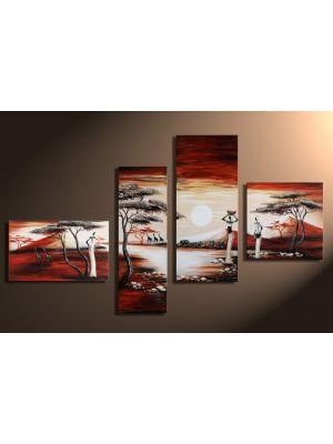 Afrikaanse zonsondergang handgeschilderde canvas 140x80cm