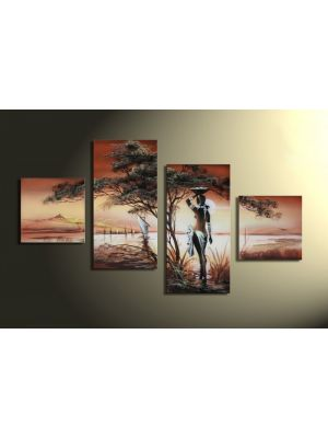 Afrika dreams 1 - 4 delig canvas 80x50cm Handgeschilderd