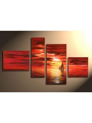 Zonsondergang 1 - 4 delig canvas 120x70cm Handgeschilderd schilderij