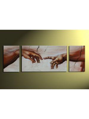 Michelangelo handen die elkaar aanraken 165x50cm
