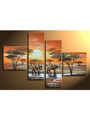 Afrika olifanten 3 - 4 delig canvas 100x70cm Handgeschilderd