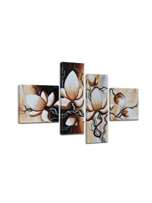 Canvas print Magnolia M3 - 100x70cm 4 delig - ingelijst. P212