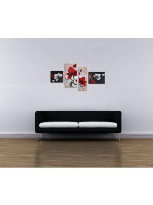 Canvas print Bloemen M1 - 120x70cm 4 delig - ingelijst P306