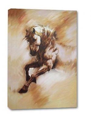 Paard in het wild - 1 delig 60x90cm Handgeschilderd schilderij
