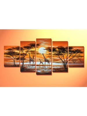 Giraffen - 5 delig canvas 150x70cm Handgeschilderd