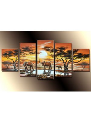 Olifanten Afrika 1 - 5 delig canvas 150x70cm Handgeschilderd