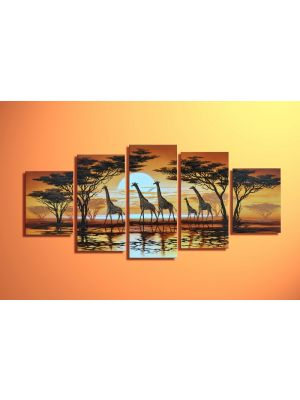 Giraffen 2 - 5 delig canvas 150x70cm Handgeschilderd