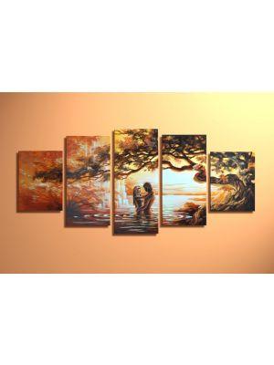 Liefdespaar - 5 delig canvas 150x70cm Handgeschilderd
