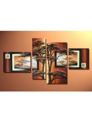 Afrikaanse savanne 8 - 4 delig canvas 120x70cm Handgeschilderd
