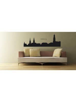 Muursticker skyline Hamburg