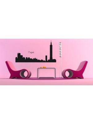 Muursticker skyline Taipei