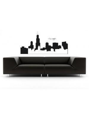 Muursticker skyline Chicago